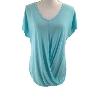 Tangerine Light Blue V-neck Short Sleeve Top Small